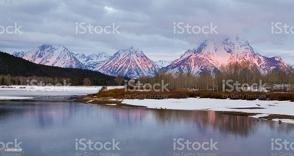 First Light at Oxbow Bend, Grand Teton National Park royalty-free stock photo