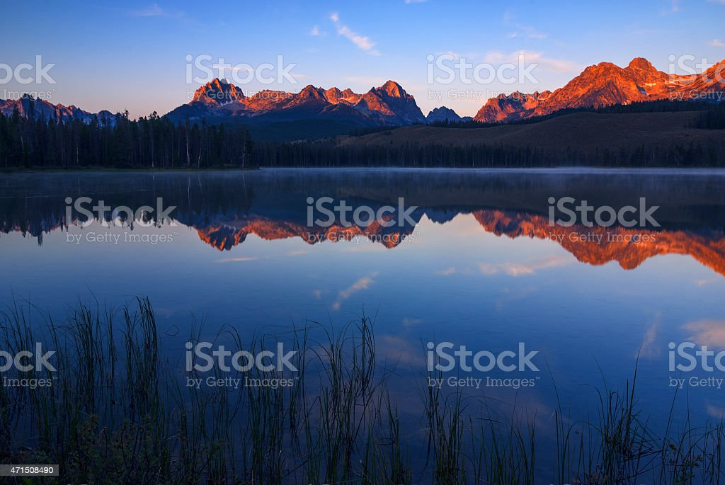 First light at Sawtooth Mountains Stanley Idaho stock photo