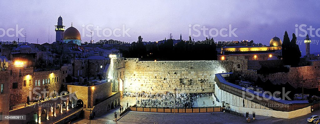 First light in the Western Wall. royalty-free stock photo