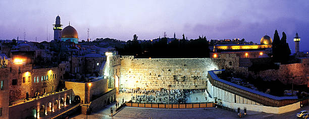 First light in the Western Wall. stock photo
