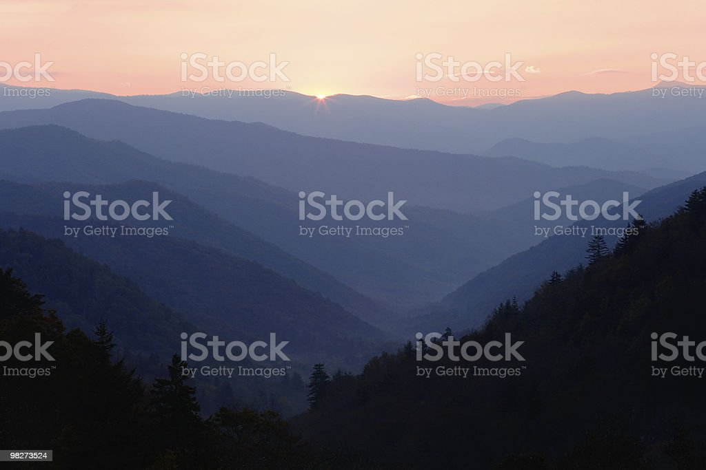 First light of dawn over Smoky Mountains peaks royalty-free stock photo