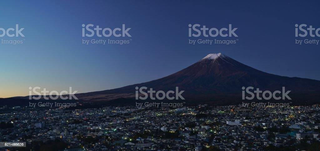 First light of the day againist the Mount Fuji stock photo