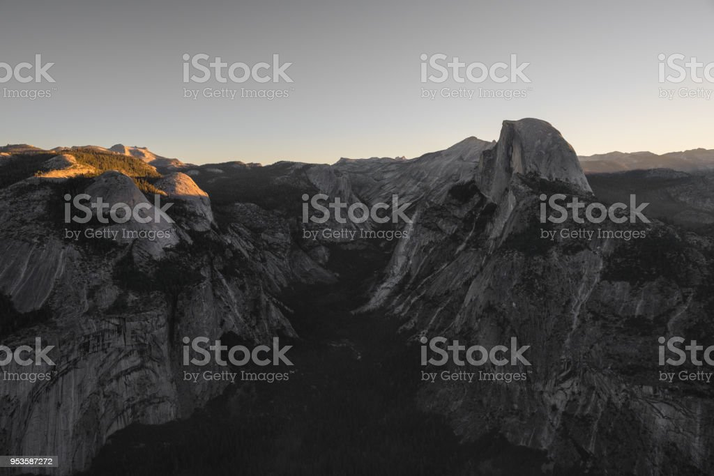 First Light on Half Dome - from Glacier Point - Yosemite National Park stock photo