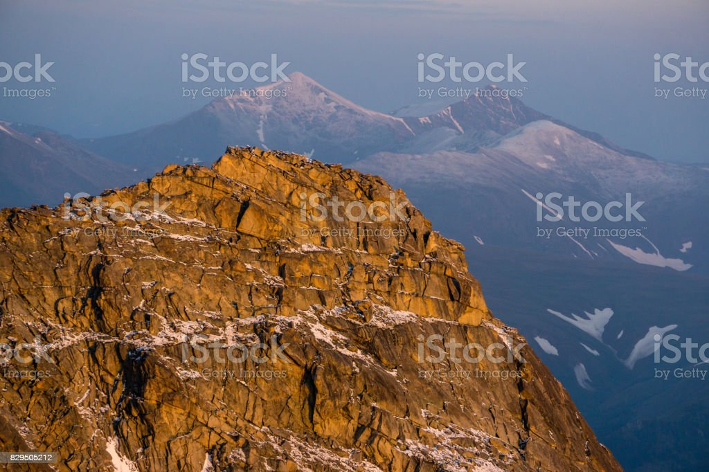 First Light on Mount Evans stock photo