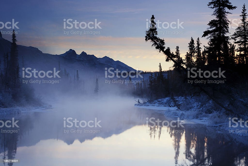 First Light on Mountain River royalty-free stock photo