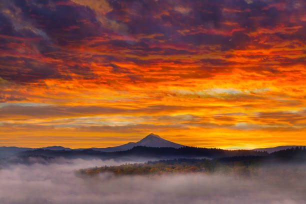 First Light on Mt Hood in Oregon City one foggy sunrise fall season USA First Light on Mount Hood in Oregon City during dramatic and colorful sunrise one foggy early morning fall season USA America mt hood stock pictures, royalty-free photos & images