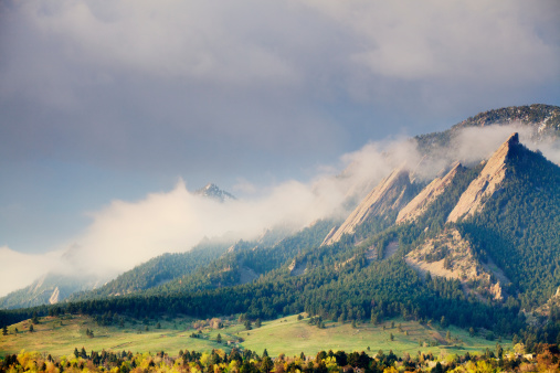 First Light on the Boulder Colorado Flatirons as a storm clears.