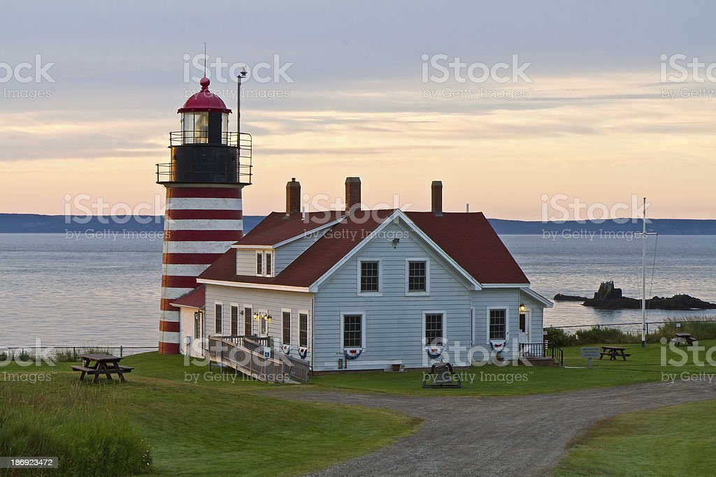 First Light on West Quoddy Head Lighthouse royalty-free stock photo