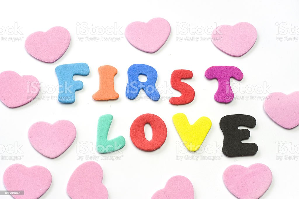 first love letters with hearts stock photo