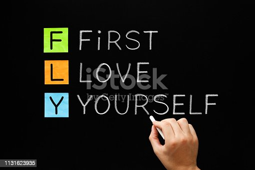 istock FLY - First Love Yourself Acronym Concept 1131623935