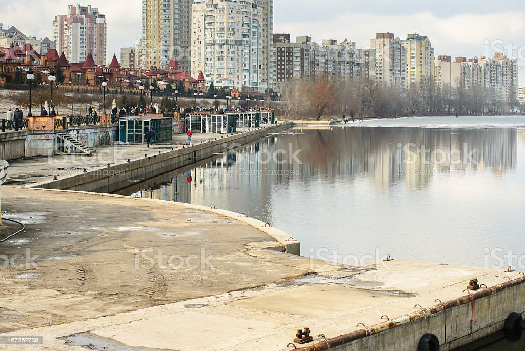 First march of spring in Ukraine city Kiev stock photo