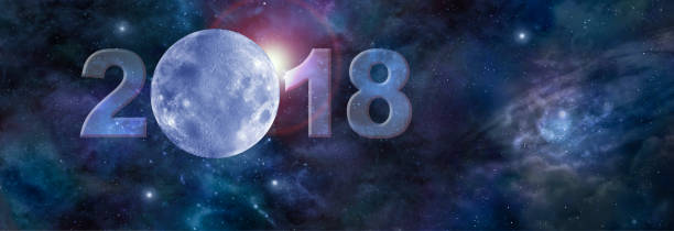first moon in 2018 website header - cyclic stock pictures, royalty-free photos & images