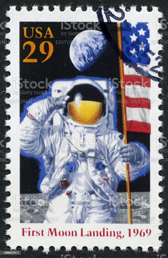 First Moon Landing Stamp stock photo