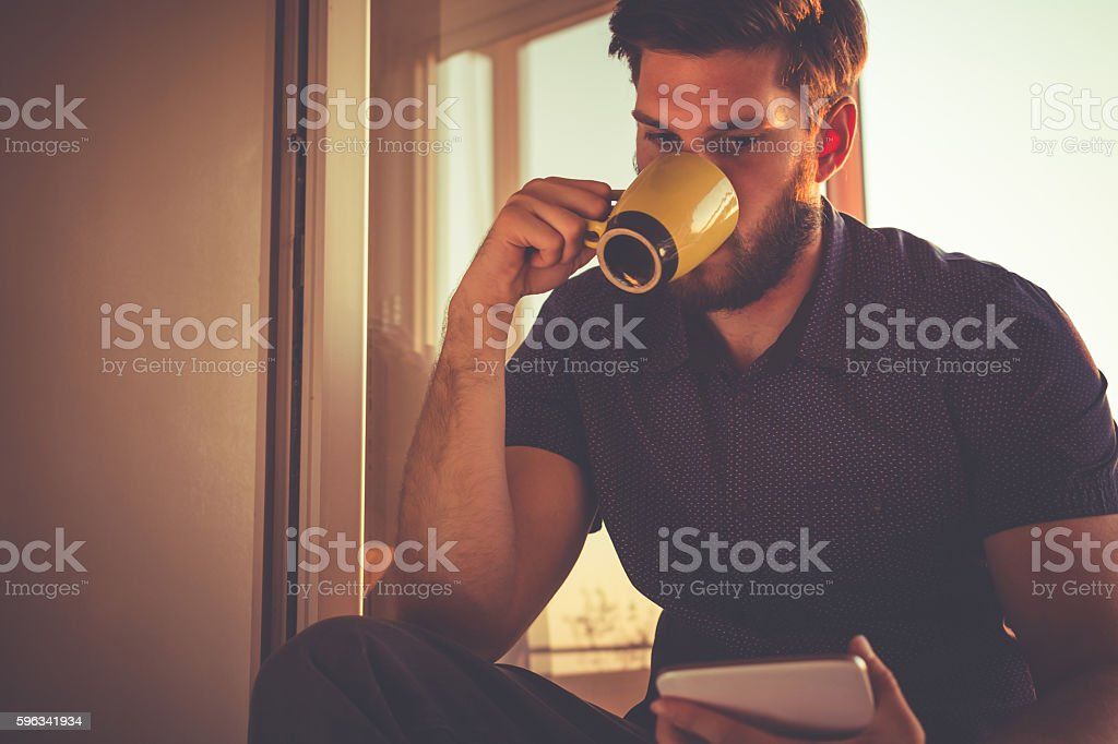 First morning coffee royalty-free stock photo