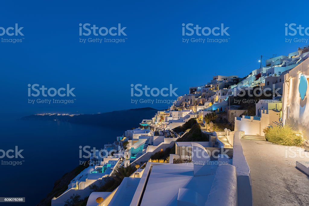 First morning light at Imerovigli village , Santorini stock photo