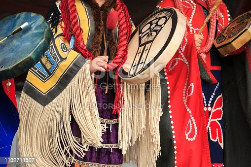 Victoria Canada Jun 18, 2016: First Nation (Native) dancers performing at the Victoria Aboriginal Cultural Festival. Spectacular performances at the Royal BC Museum in the heart of downtown Victoria