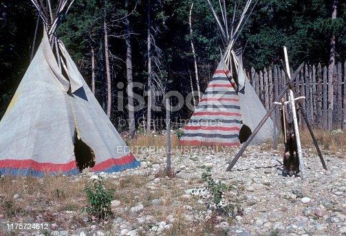 British Columbia, Canada, 1976. First Nation Teepee (Xatsull village) on Williams Lake in British Columbia.