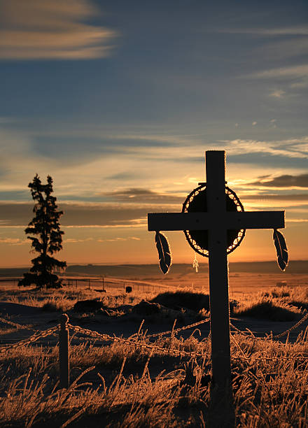 first nations grave marker on indian reservation - native american reservation stock photos and pictures
