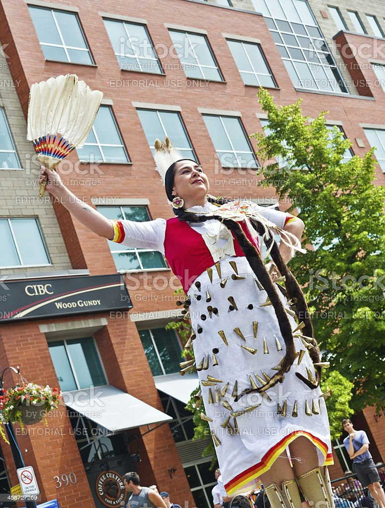 First Nations Ojibway Dancer at Street Festival stock photo