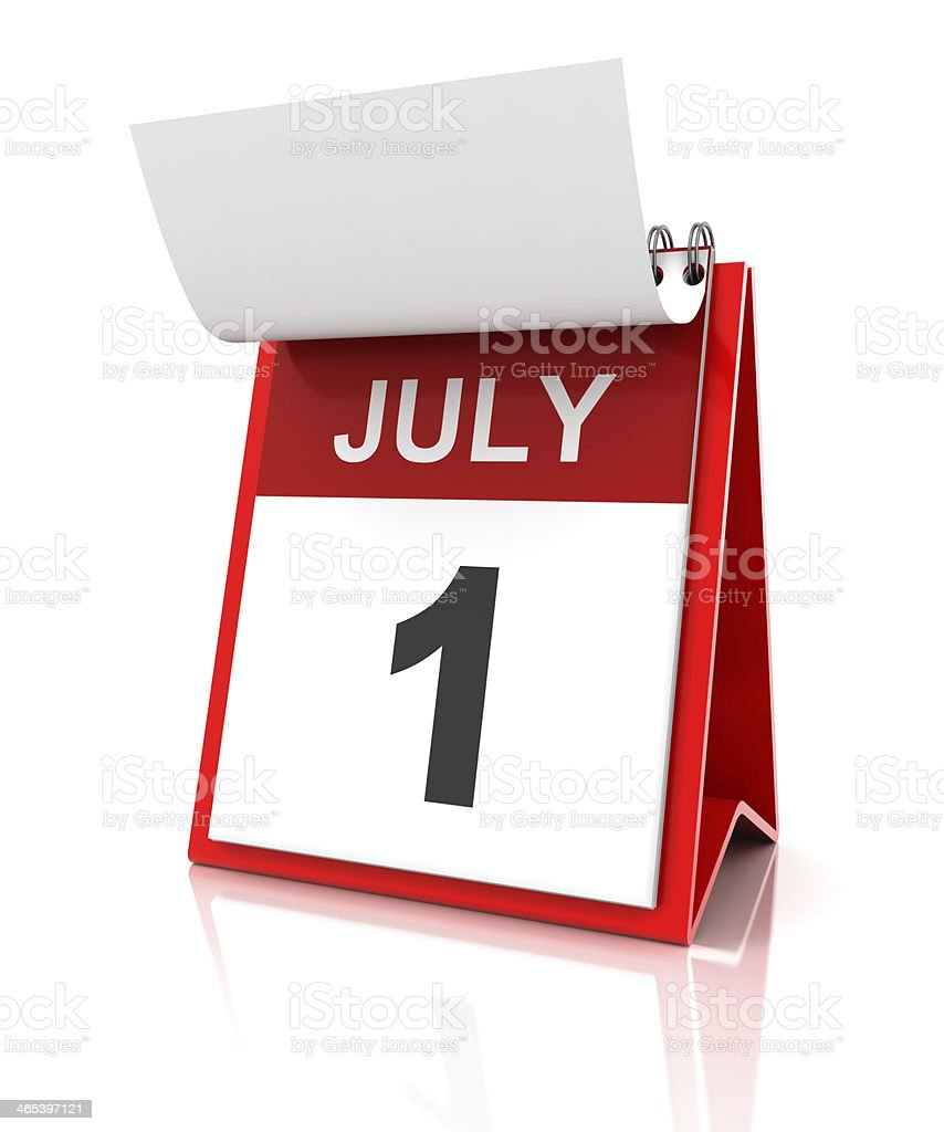 First of July calendar stock photo