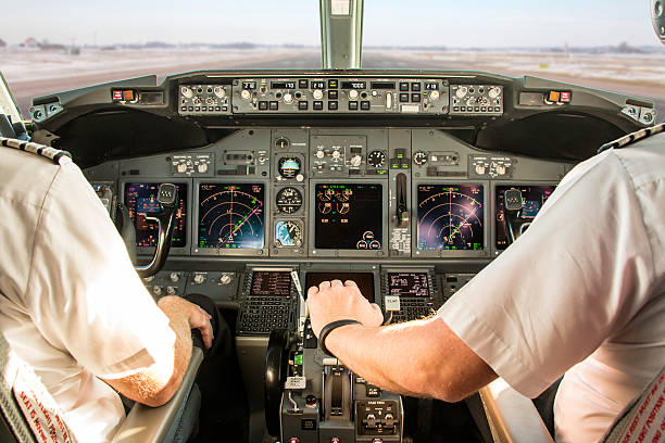First officer taking off stock photo