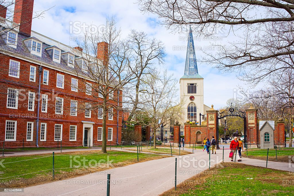 First Parish Church and tourists in Harvard Yard stock photo