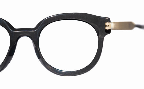First person view of eyeglasses or sunglasses, glasses seen from behind outlined on white background stock photo