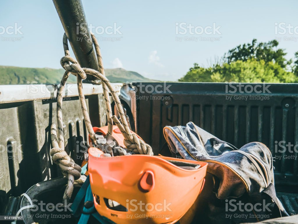 first person view of the man lying in the back of the truck'n stock photo
