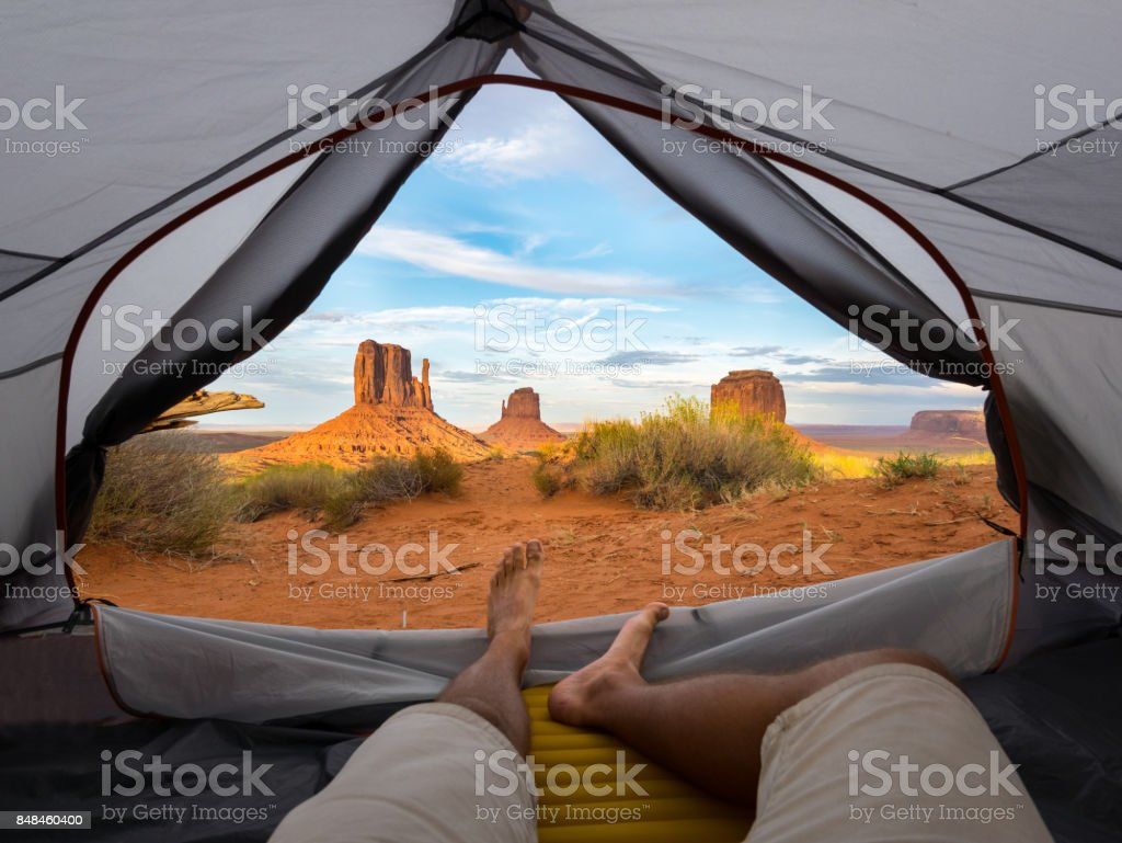 POV first person view on monument valley out of a tent stock photo