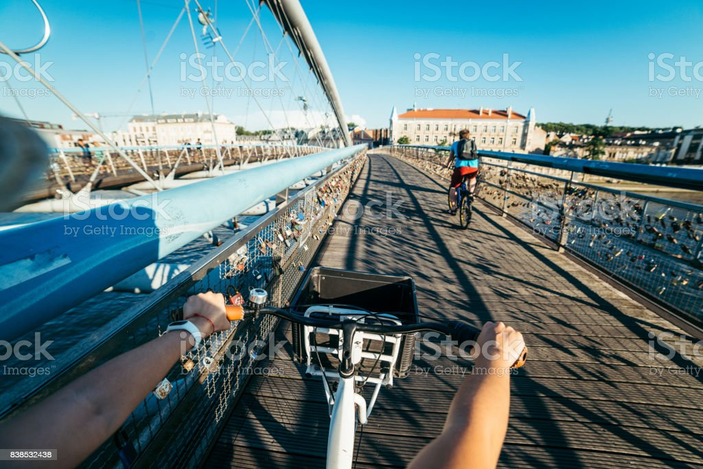 first person view ride on bicycle stock photo