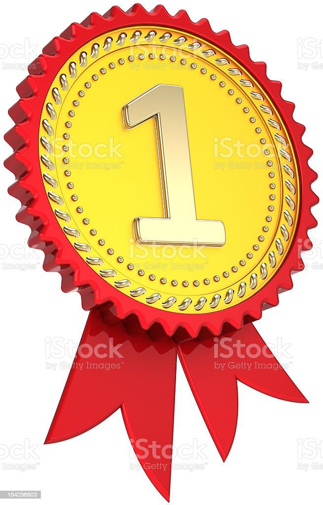 Awesome Primo Numero Di Nastro Premio Medaglia Du0027oro, Icona Di Un Successo Foto  Stock