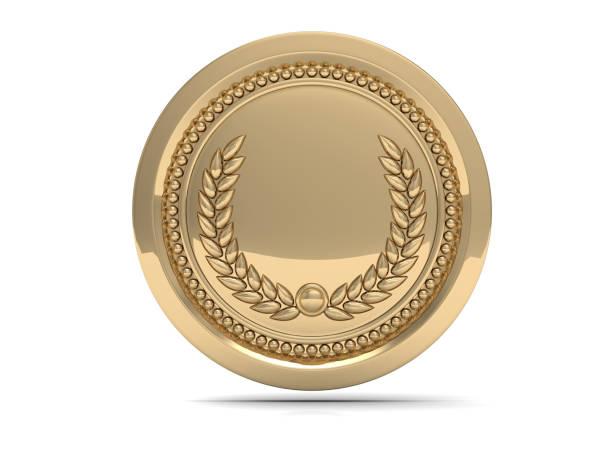 1 位ゴールド メダルが白い背景 3 d イラストを分離 ストックフォト