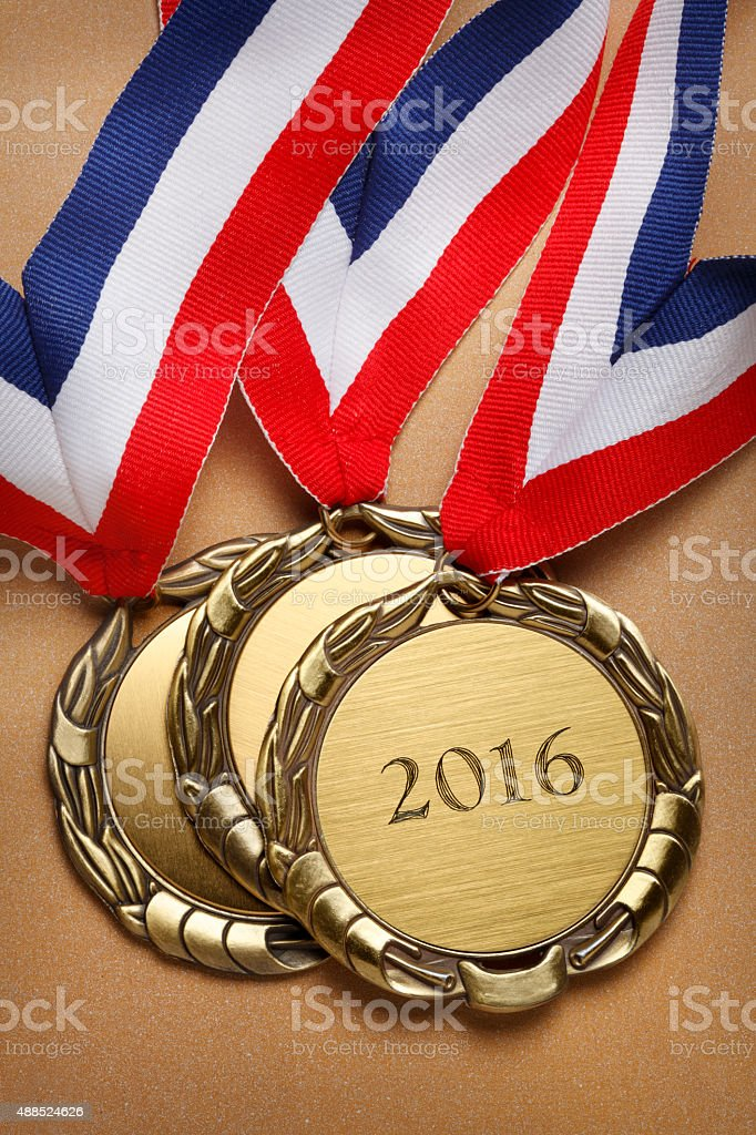 First Place Gold Medal With The Year 2016 stock photo
