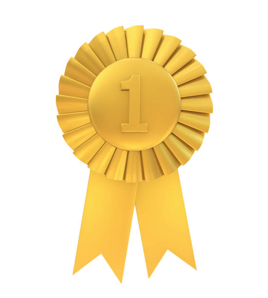First Place Golden Award Ribbon Isolated First Place Golden Award Ribbon isolated on white background. 3D render medal stock pictures, royalty-free photos & images