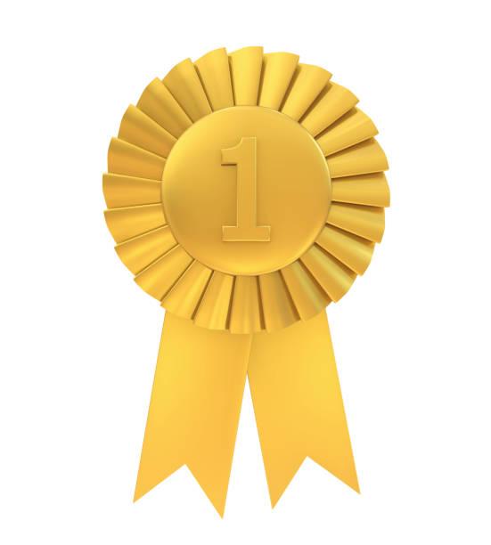 first place golden award ribbon isolated - medal zdjęcia i obrazy z banku zdjęć