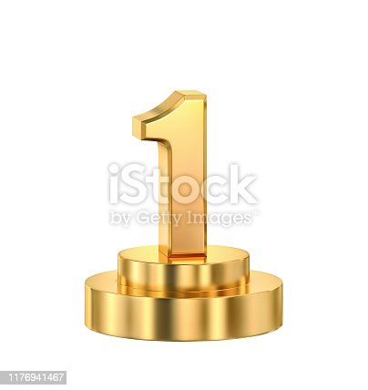 istock First place, golden trophy isolated on white 1176941467