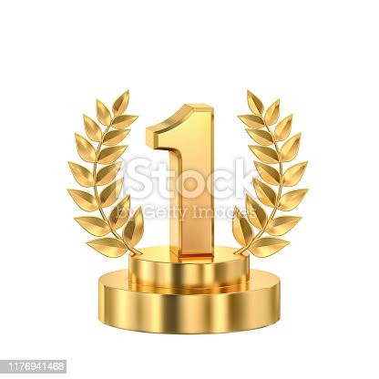 istock First place, golden trophy with laurel wreath 1176941468