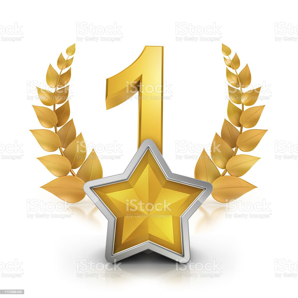 First place one star badge reward stock photo