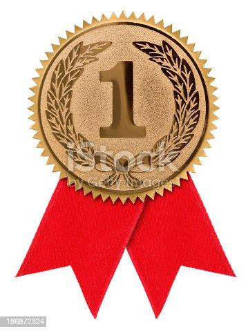 Award ribbon isolated on white background.