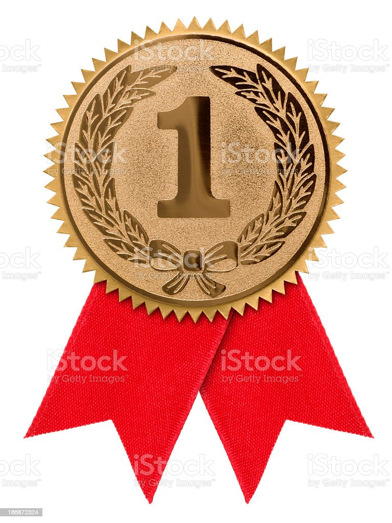 A first place red ribbon against a white background stock photo