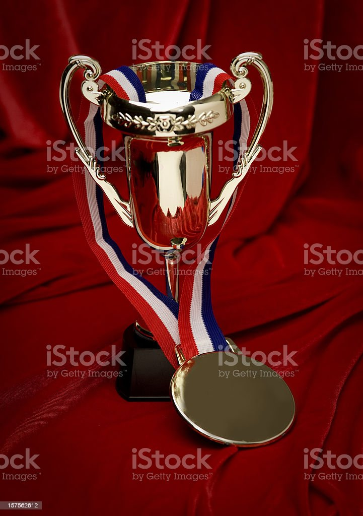 first place trophy and medal (blank) royalty-free stock photo
