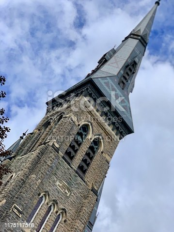 Brockville, Ontario, Canada - September 7, 2019: First Presbyterian Church was established by an Englishman in the 1800s with the first service performed in 1819. Today the church offers worship services along with community events.
