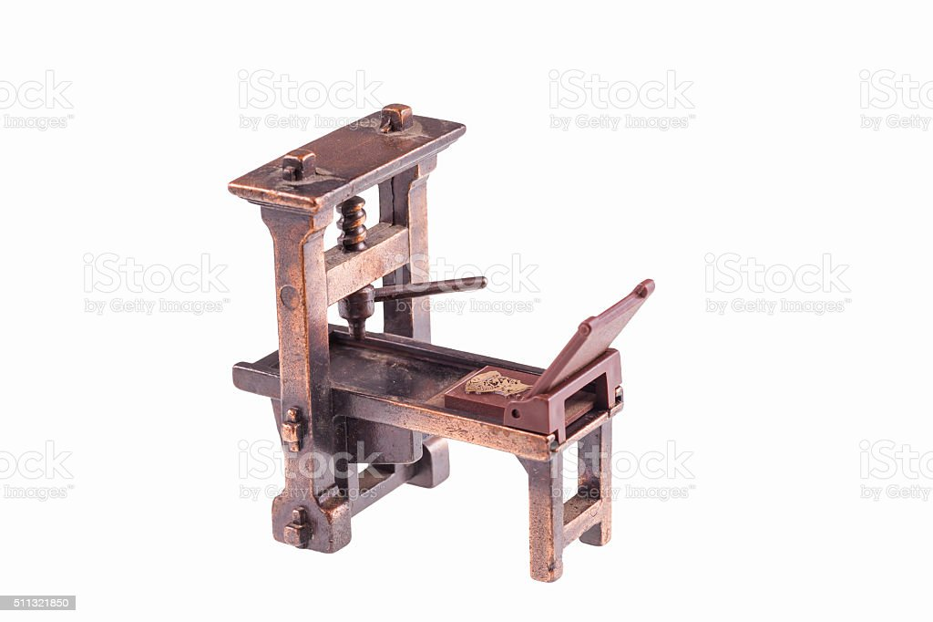 First printing press by Gutenberg-isolated stock photo