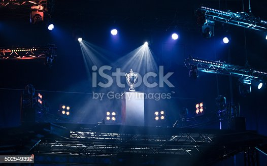 istock First prize trophy on a pedestal 502549392