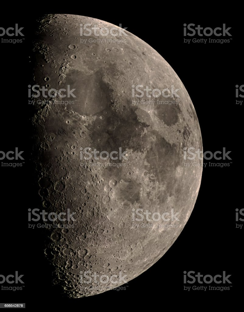 First Quarter Moon stock photo