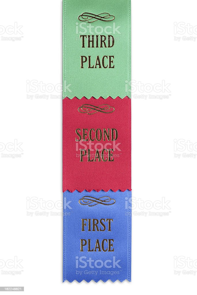 First, Second and Third Place Ribbons royalty-free stock photo