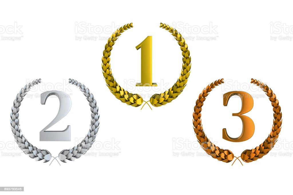 First second and third prize 3d laurels isolated illustration on white stock photo