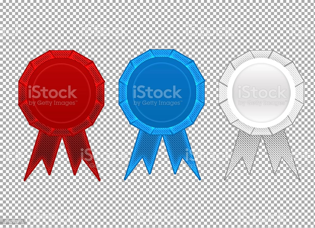 First, second, third place ribbons stock photo