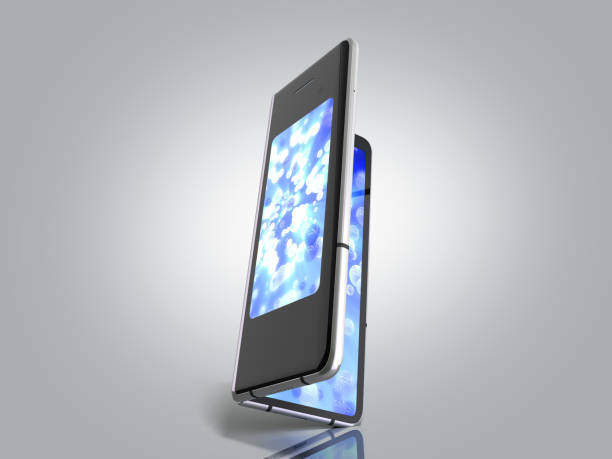 First serial foldable phone 3d render on grey background First serial foldable phone 3d render on grey background foldable stock pictures, royalty-free photos & images