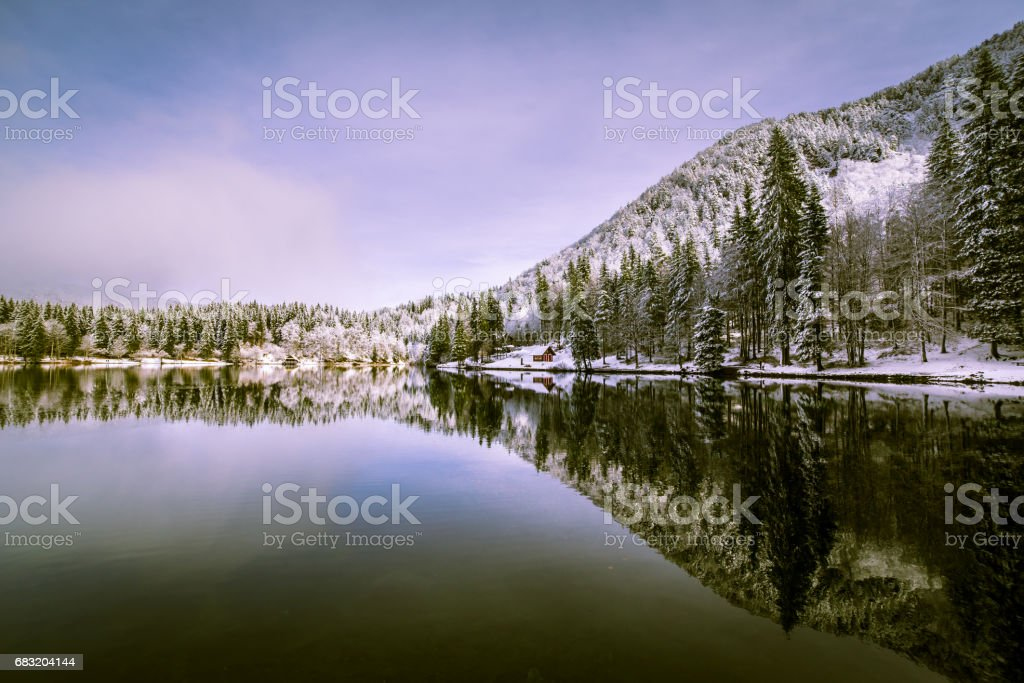 first snow at the mountain lake royalty-free 스톡 사진
